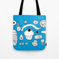 sticker Tote Bags featuring Sticker World by Duru Eksioglu