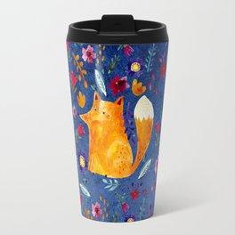 The Smart Fox in Flower Garden Travel Mug
