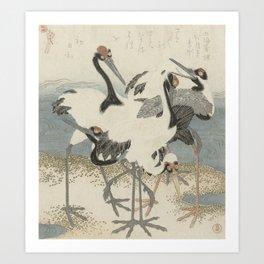 Japanese Woodcut: Cranes on the Water Art Print