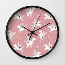 Unicorns on a pink sky Wall Clock