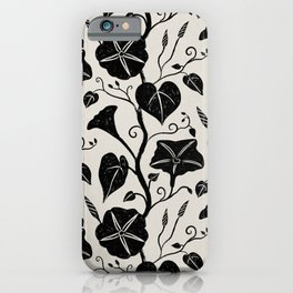 Black Moonflower creeper on neutral iPhone Case