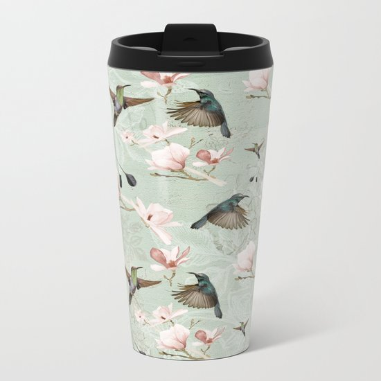 Vintage Watercolor hummingbird and Magnolia Flowers on mint Background Metal Travel Mug