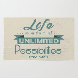 Life is a field of unlimited possibilities Inspirational Motivational Quote Design Rug
