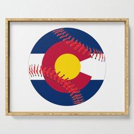 Colorado Flag Baseball Serving Tray