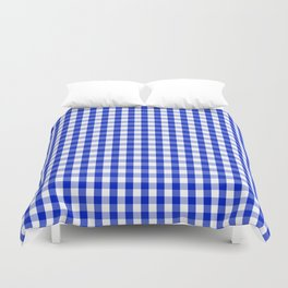 Cobalt Blue and White Gingham Check Plaid Squared Pattern Duvet Cover