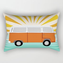 Peace, man - retro 70s hippie bus surfing socal california minimal 1970's style vibes Rectangular Pillow