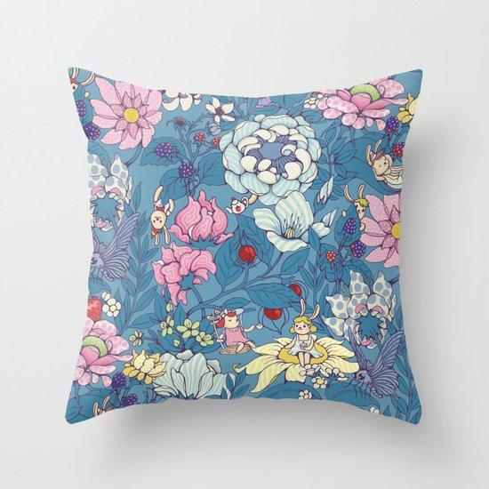 Garden party - lady gray version Throw Pillow