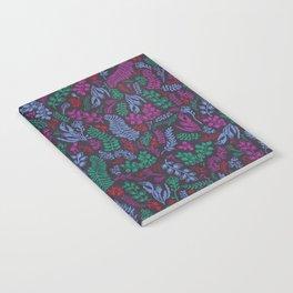 Cut Flowers Pattern Dark Gray Notebook