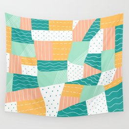 modern voyager quilt, peach Wall Tapestry