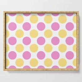 Yellow and pink polka dots Serving Tray