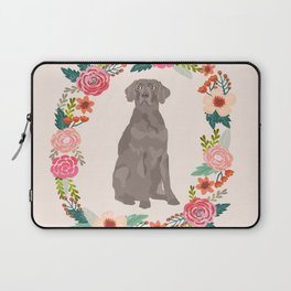 weimaraner floral wreath dog breed pure breed pet portrait Laptop Sleeve