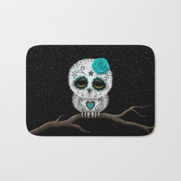 Adorable Teal Blue Day of the Dead Sugar Skull Owl Bath Mat