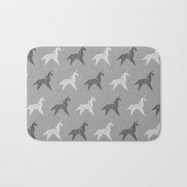 Origami Unicorn Grey Bath Mat