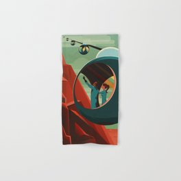 Mars Retro Space Travel Poster Hand & Bath Towel