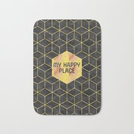 GRAPHIC ART GOLD My happy place | blac Bath Mat