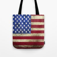 american flag Tote Bags featuring American Flag by Jason Michael