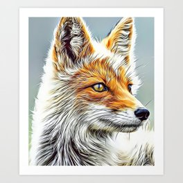 Fox Portrait Airbrush Artwork Art Print