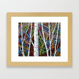 Sunset Sherbert Birch Forest (ORIGINAL ACRYLIC PAINTING) by Mike Kraus - art valentines day girl Framed Art Print