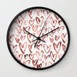 Rose Gold Love Hearts on Marble Wall Clock