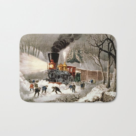 Snow Bound: Vintage Railroad Scene Bath Mat