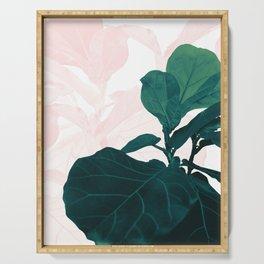 Blush Green Fiddle Leaf Dream #1 #tropical #decor #art #society6 Serving Tray
