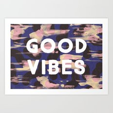Good Vibes Abstract Camo Pattern Art Print
