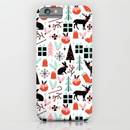 Christmas ornaments minimal holly reindeer candy cane christmas tree pattern print iPhone Case