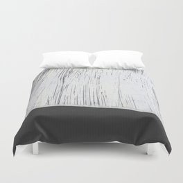 Scratched White Plaster and Charcoal Grey Lined Pattern Duvet Cover