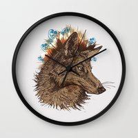 coyote Wall Clocks featuring coyote by youareconstance