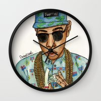tyler the creator Wall Clocks featuring Tyler, The Creator by Daniel Cash