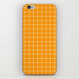 Yellow Orange (Color Wheel - orange color - White Lines Grid Pattern iPhone Skin