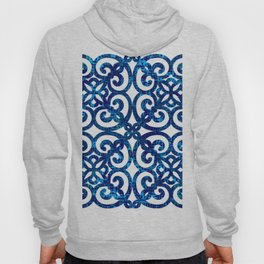 Chained indigo tile effect blue baroque french style Hoody