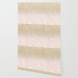 Modern champagne glitter ombre blush pink marble pattern Wallpaper