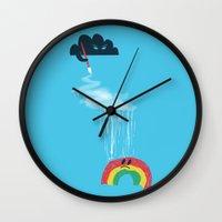 rain Wall Clocks featuring Rain Rain Go Away by Picomodi