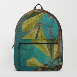 Red Headed Woodpecker with Oak, Natural History and Botanical collage Backpack