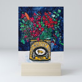 Wild Flowers in Golden Syrup Tin on Blue Mini Art Print