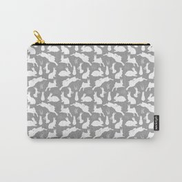 Rabbit Pattern | Rabbit Silhouettes | Bunny Rabbits | Bunnies | Hares | Grey and White | Carry-All Pouch