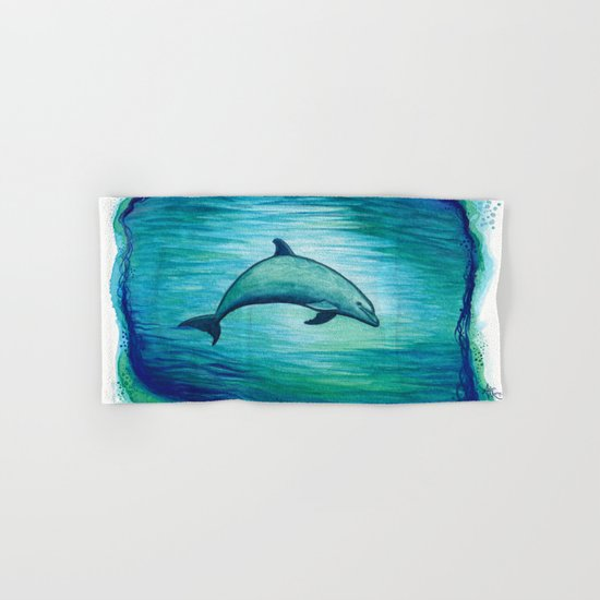 """Indigo Lagoon"" by Amber Marine ~ Watercolor Dolphin Painting, (c) 2015 Hand & Bath Towel"