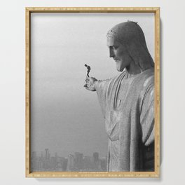 Christ the Redeemer, Rio de Janeiro, Brazil death defying dare devil black and white photography Serving Tray