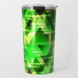 Spring gentle green horizontal strict stripes of sparkling grass triangles. Travel Mug