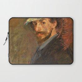 12,000pixel-500dpi - Self-portrait with flowered hat - James Sidney Edouard Baron Ensor Laptop Sleeve