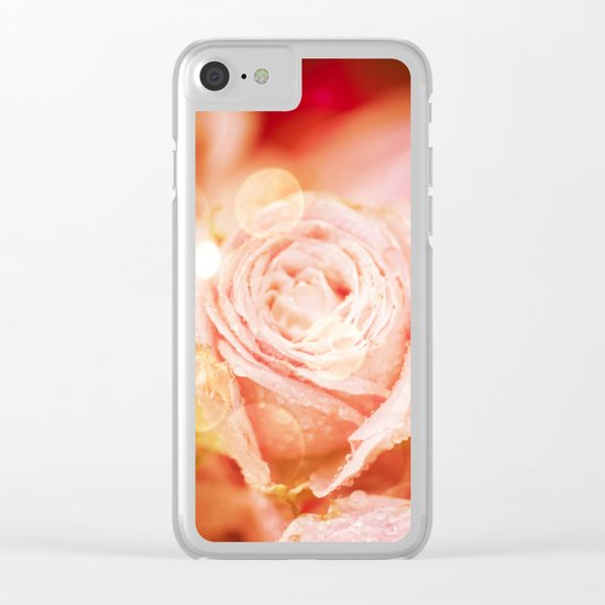 Roses with waterdroplets and bokeh Clear iPhone Case