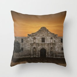 The Alamo Mission in San Antonio Texas with the Lonestar Flag Flying No.0256 A Fine Art Historical P Throw Pillow