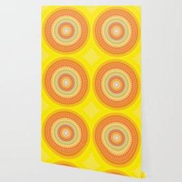 Bright Yellow Orange Mandala Wallpaper