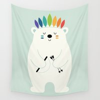 brave Wall Tapestries featuring Be Brave Polar by Andy Westface
