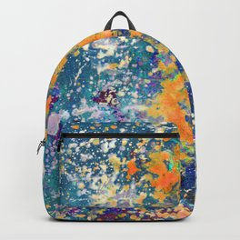 Abstract Painting , Mixed Media in Turquoise, Blue, Orange and Purple Texture Paint Splashes & Drops Backpack