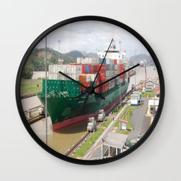 A cargo ship crossing the Miraflores locks at the Panama Canal Wall Clock
