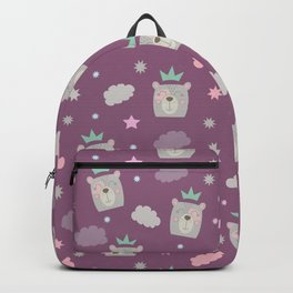 Bear Princess surrounded by clouds and stars Backpack