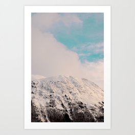 Black, White & Turquoise Winter Art Print