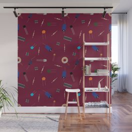 Circuit Elements - Maroon Wall Mural